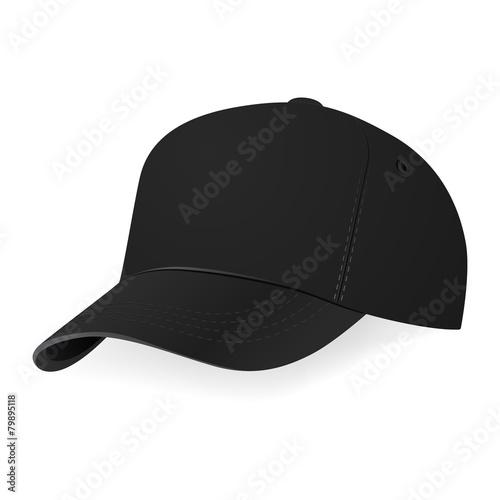 Fotografia  Vector illustration of black baseball cap in a half-turn