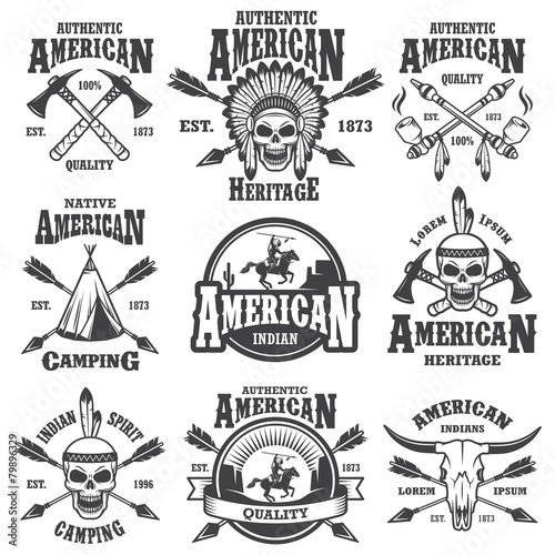 Cuadros en Lienzo Set of american indian emblems