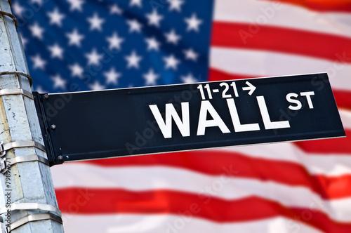 Zdjęcie XXL Zamknij się znak kierunku Wall Street, Nowy Jork, USA