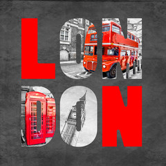 Fototapeta Londyn London letters with images on black background