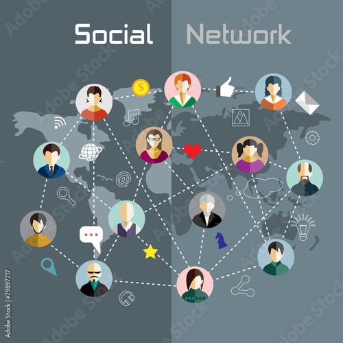 Fototapety, obrazy: Flat design concept for social network