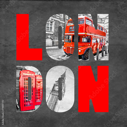 London letters with images on  black background - 79897751