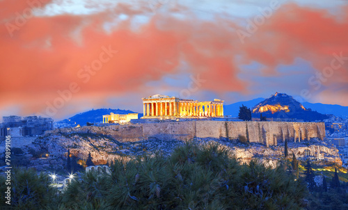 Poster Corail Acropolis with Parthenon temple in Athens, Greece