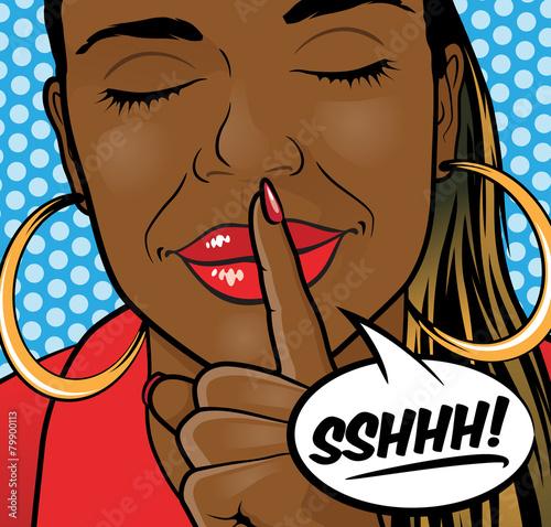 Fotografie, Obraz  Pop Art African American Girl Sshhh Lips.