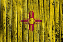 Flag Of New Mexico Painted On Wooden Frame