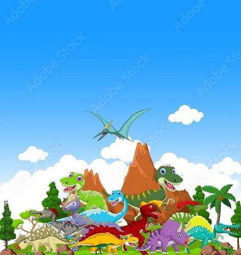 dinozaur-kreskowka-z-tlem-krajobrazu