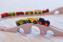 Wooden Toy Train On The Tracks