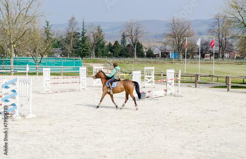Foto op Plexiglas Paardrijden équitation, obstacle
