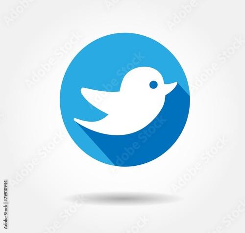 Obraz twitter bird flat icon - fototapety do salonu