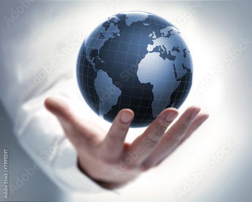 Fotografie, Obraz  Hand mit Globus