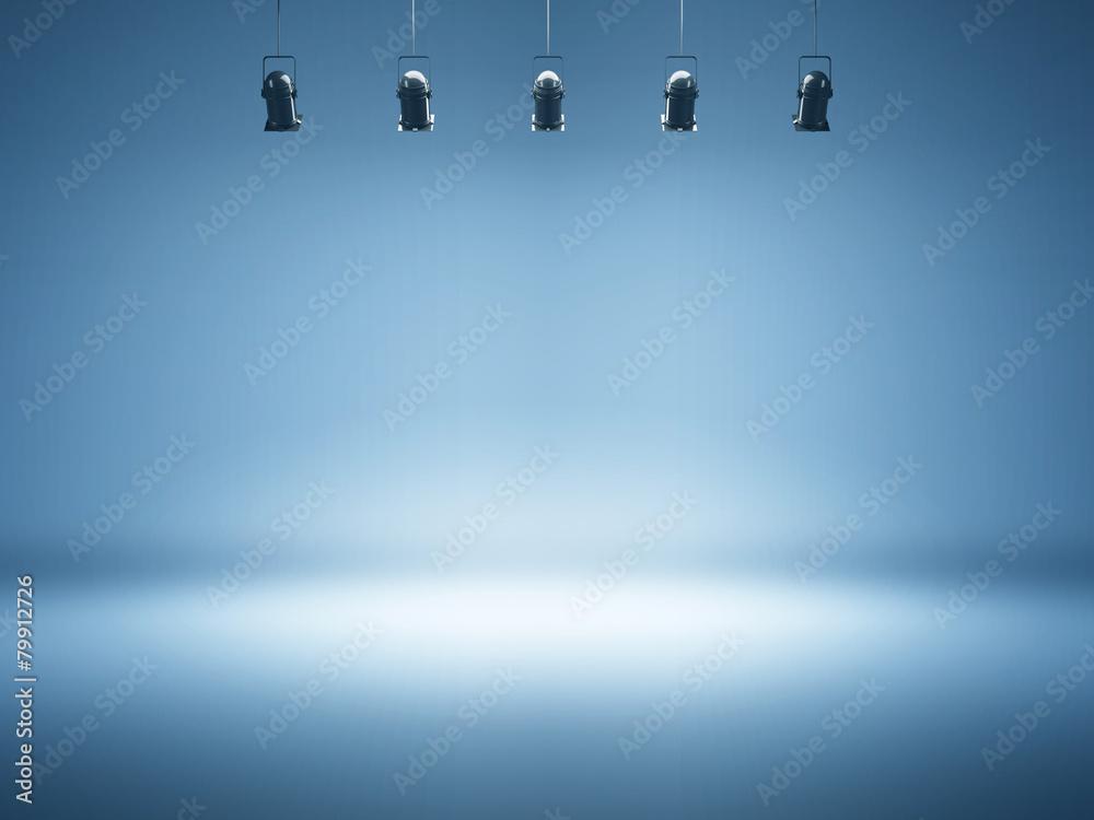 Fototapety, obrazy: blue spotlight background with studio lamps