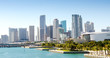 canvas print picture - Panoramic view of the downtown Miami skyline, Florida, USA.
