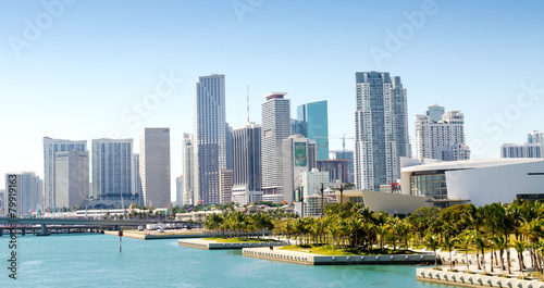 Panoramic view of the downtown Miami skyline, Florida, USA. Fototapet