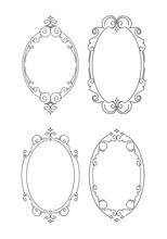 Set Of 4 Elegant Outlined Caligraphic Round Frames