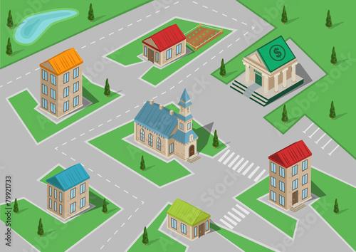 Poster de jardin Route Isometric vector town