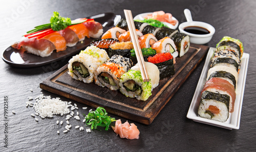 Canvas Print Japanese seafood sushi set