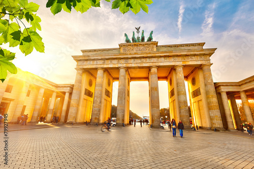 Brandenburg gate at sunset Poster