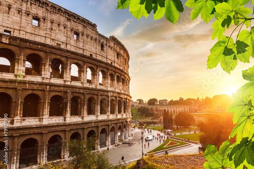 fototapeta na szkło Colosseum na zachodzie słońca