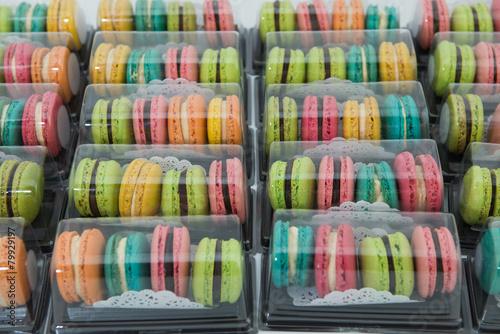 Aluminium Prints Macarons colorful of Macarons in box