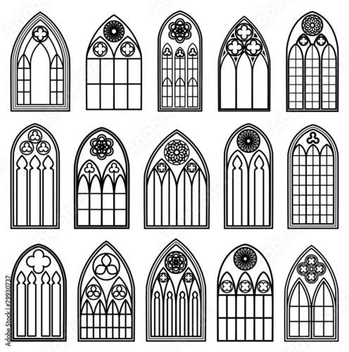 Fotografie, Obraz  Gothic Window Silhouettes