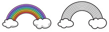 Colorful And Black And White Rainbow For Coloring Book