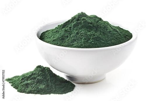 Photo bowl of spirulina algae powder
