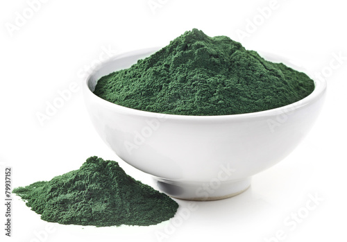 bowl of spirulina algae powder Canvas Print