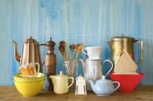 Various Vintage Kitchenware, Free Copy Space