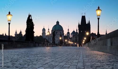 Foto op Plexiglas Praag Prague, Charles Bridge at dawn