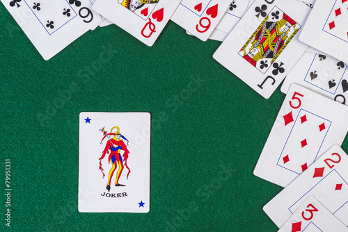 Photo  Scattered playing cards with the joker