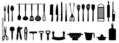 Fotomural Küchenhelfer Silhouetten Set