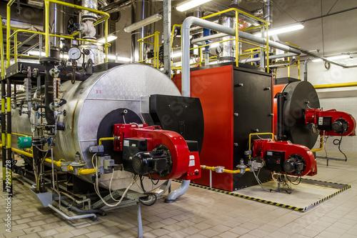 Staande foto Industrial geb. Gas boilers in gas boiler room