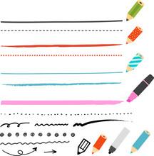 鉛筆やペンとライン
