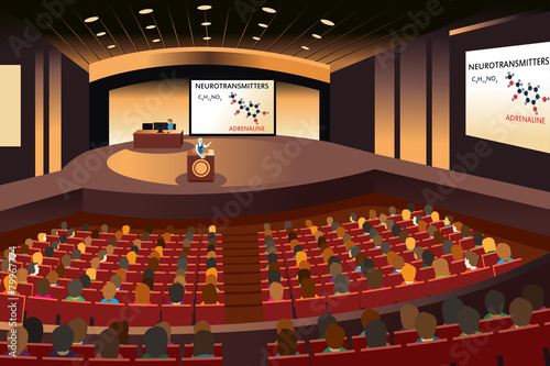 Presentation in a conference in an auditorium Canvas Print