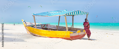 Foto op Canvas Zanzibar White tropical sandy beach on Zanzibar.