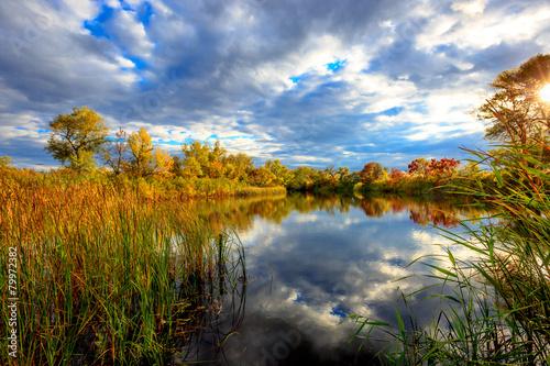 Foto op Canvas Herfst Autumn scene on lake