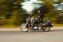 Slow Motion, Biker Riding Motorbike With Blur Movement, Speed Co