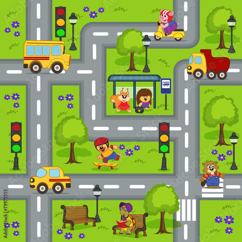 fototapeta na lodówkę seamless pattern with roads - vector illustration, eps