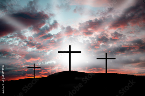 Fotografie, Tablou  Crosses on Calvary - dramatic light and clouds