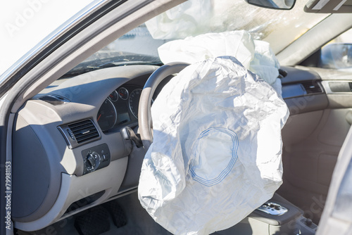 airbags deployed in a hit and run accident Canvas Print