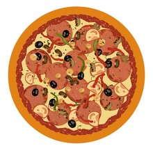 Realistic Illustration Pizza On White Background