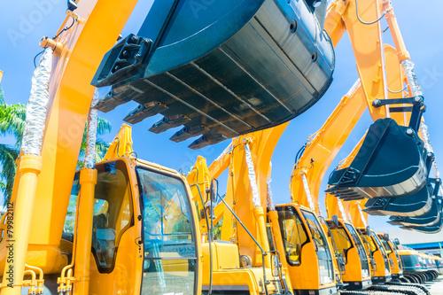 Fotografía Shovel excavator on Asian machinery  rental company