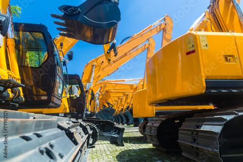 Palm tree Shovel excavator on Asian machinery rental company