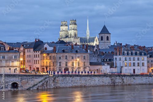 City on the water Embankment of Loire and Orleans Cathedral