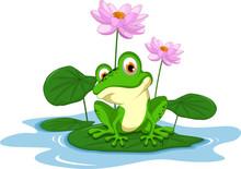 Funny Green Frog Cartoon Sitti...