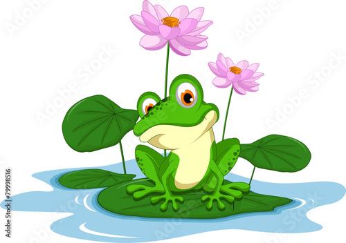 śmieszne zielona żaba kreskówka siedzi na liściu