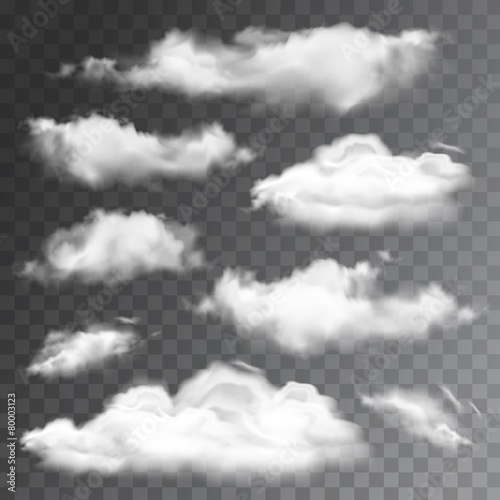Fotografía  Set of transparent realistic clouds. Vector illustration