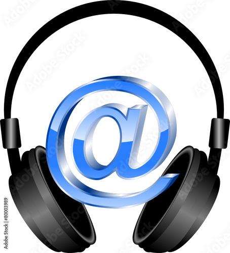 Obraz słuchawki i mail - fototapety do salonu
