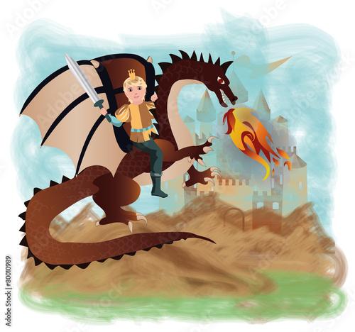 Papiers peints Chateau Brave prince and magic dragon, vector illustration