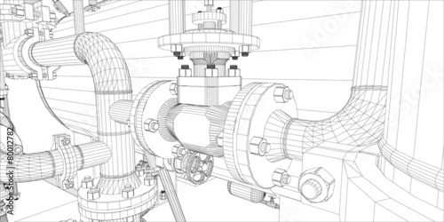 Fotografie, Obraz  Wire-frame industrial equipment on white background